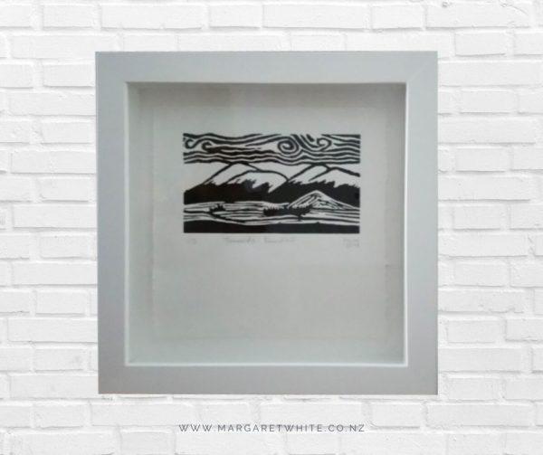 Margaret White Art Linocut Print Towards Roundhill Lake Tekapo New Zealand