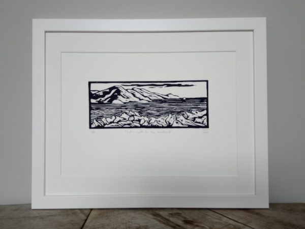 Margaret White Art Linocut Let's Walk to the Headland