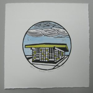 Margaret White Linocut Rolleston Railway Station