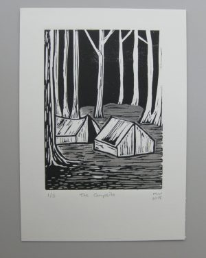 Margaret White Art Linocut The Campsite