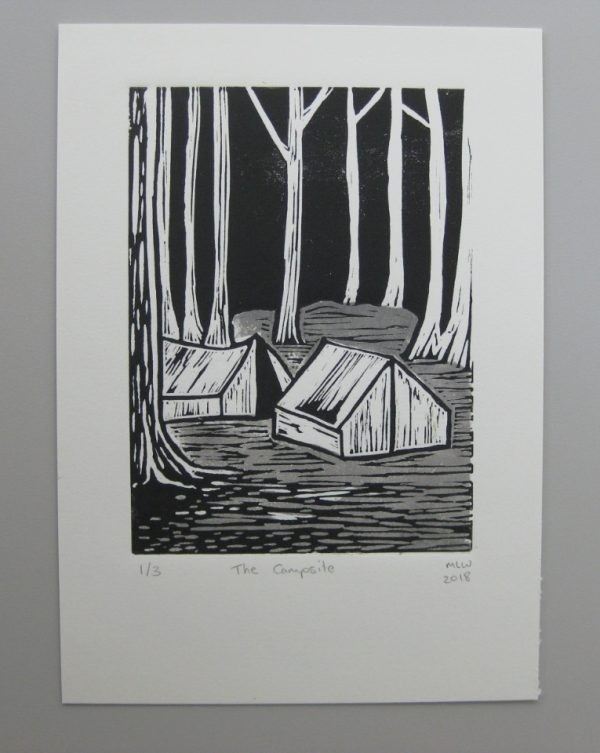 Margaret White Art Linocut The Campsite