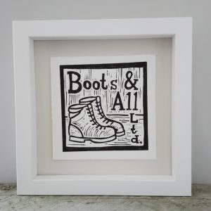 Margaret White Linocut Boots and All Tramping Art