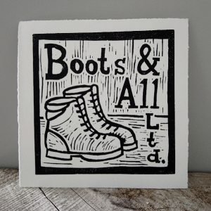 Margaret White Art Linocut Typography Outdoors