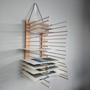 Print or Art Drying Rack made from wood and dowel rods suitable for an art or printmaking studio