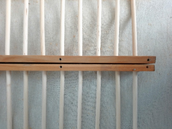 Print or Art Drying Rack made from wood and dowel rods suitable for an art or printmaking studio. Step 6 - Drill for cross frame
