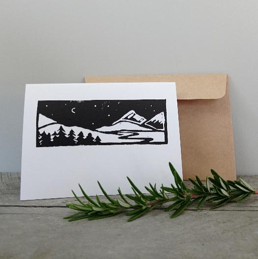 Handmade Greeting Cards New Zealand Margaret White Art Mountain River