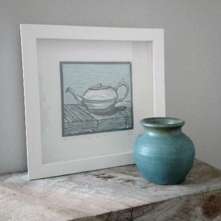 Art for Tea Lovers - Margaret White Art NZ Linocut Teapot