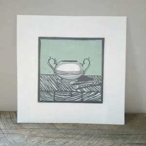 Margaret White Art Linocut Sugar Bowl Time for Tea II
