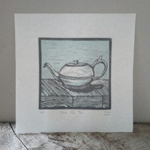Art for Tea Lovers - Margaret White Art NZ Linocut Teapot