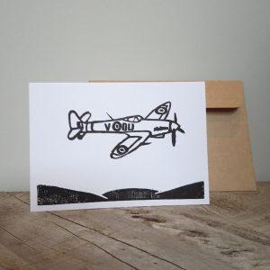 Supermarine Spitfire Hand-Printed Greeting Card