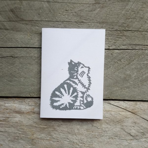 Grey Cat handmade greeting card