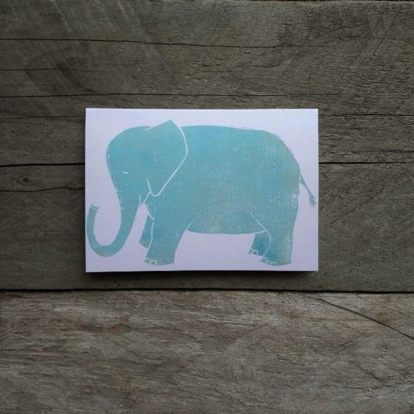 Elephant handmade greeting card blue