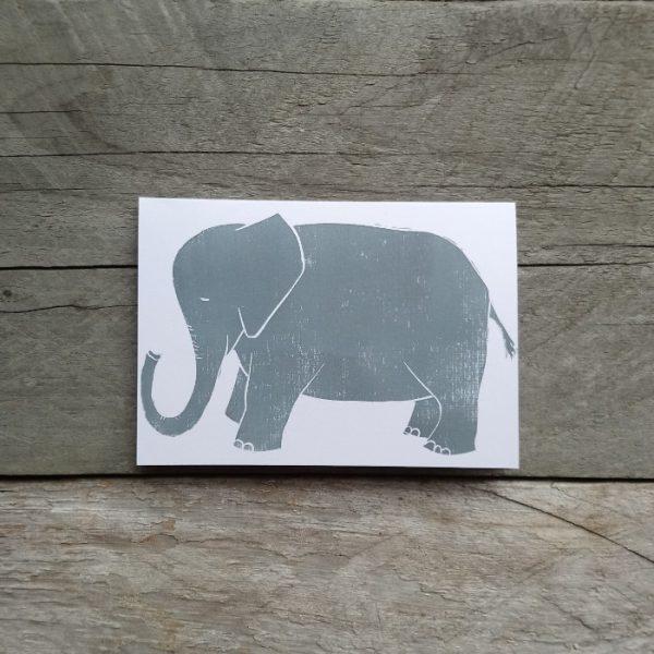 Elephant handmade greeting card grey