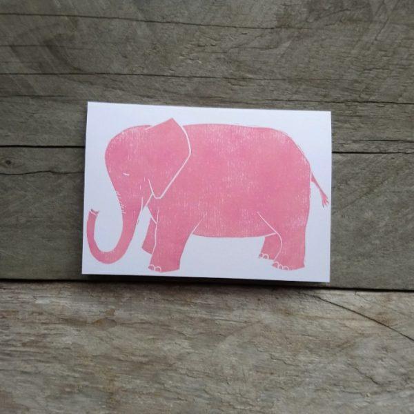 Elephant handmade greeting card pink