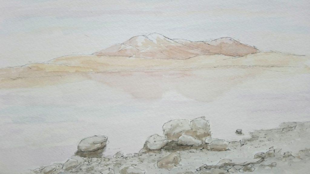 Sketching Adventure Margaret White Art Lake Heron Canterbury New Zealand NZ