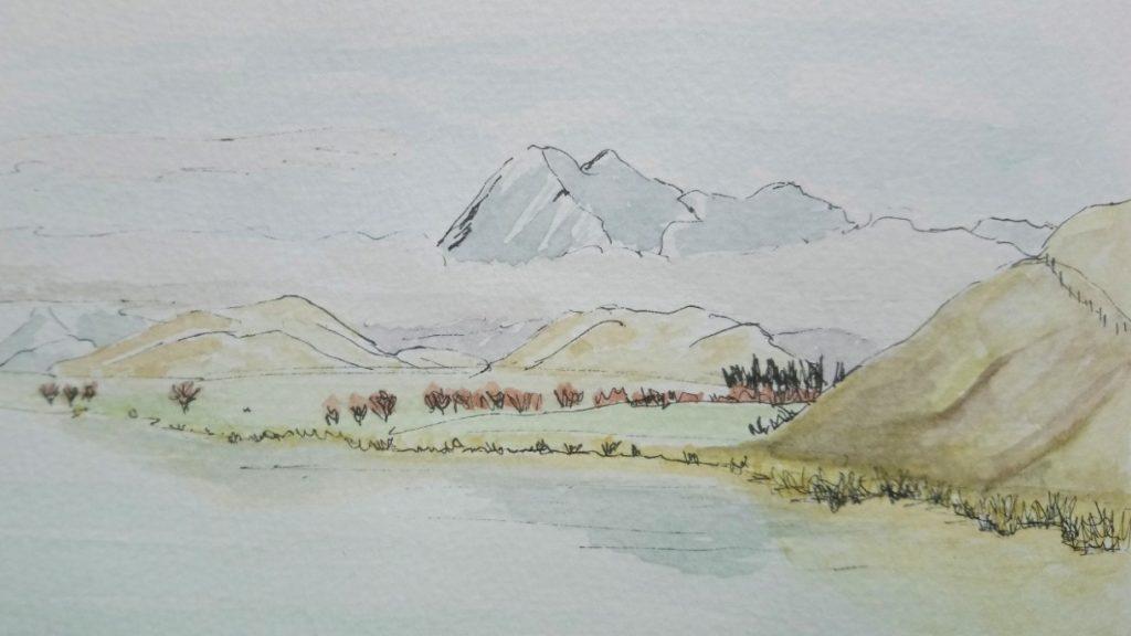 Sketching Adventure Margaret White Art Maori Lakes Canterbury New Zealand NZ