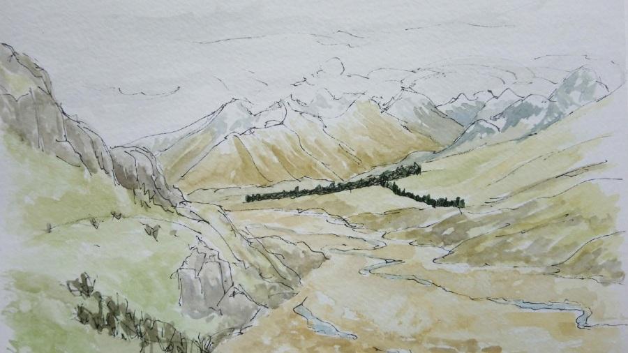 Sketching Adventure Margaret White Art Mount Sunday Canterbury New Zealand NZ