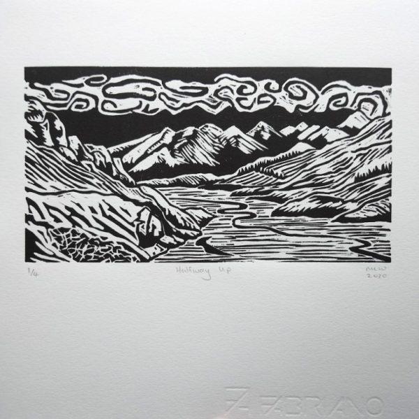 Margaret White Art Mount Sunday Linocut Art NZ