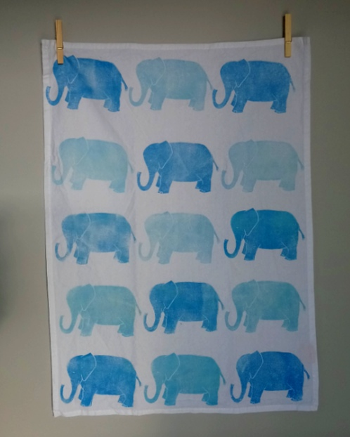 Margaret White Art Tea Towel Blue Elephants