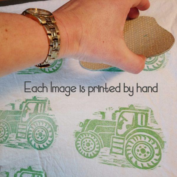 Tea Towel Green Tractor Printing