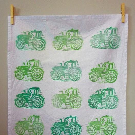 Tea Towel Green Tractor Margaret White Art