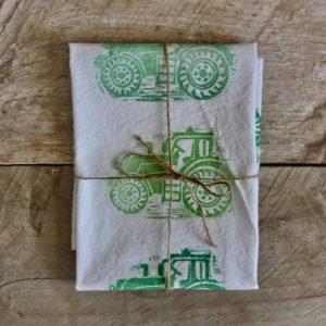 Tea Towels Green Tractors Margaret White Art