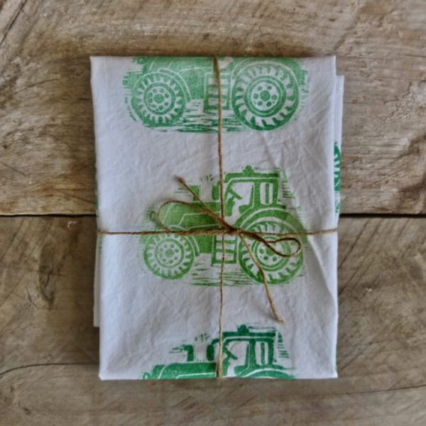 Tea Towels Green Tractors Margaret White Art