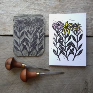 Hand-Printing Greeting Cards Daisies Margaret White Art