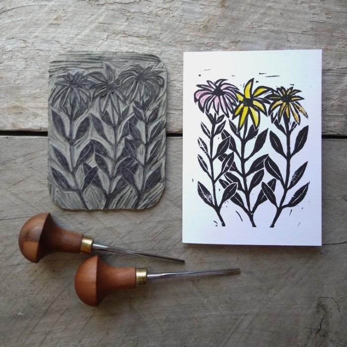 Hand-Printing Greeting Cards Daisies Margaret White Art