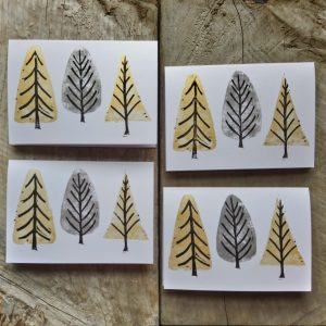 Greeting Card Forest Gold and Silver Margaret White Art