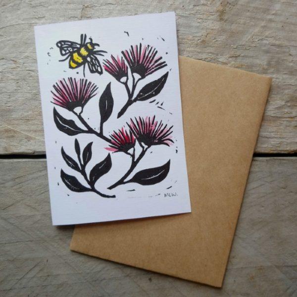 Margaret White Art Pohutukawa and Honey Bee Greeting Card