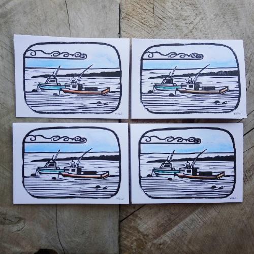 Fishing Boats Greeting Card Margaret White Art