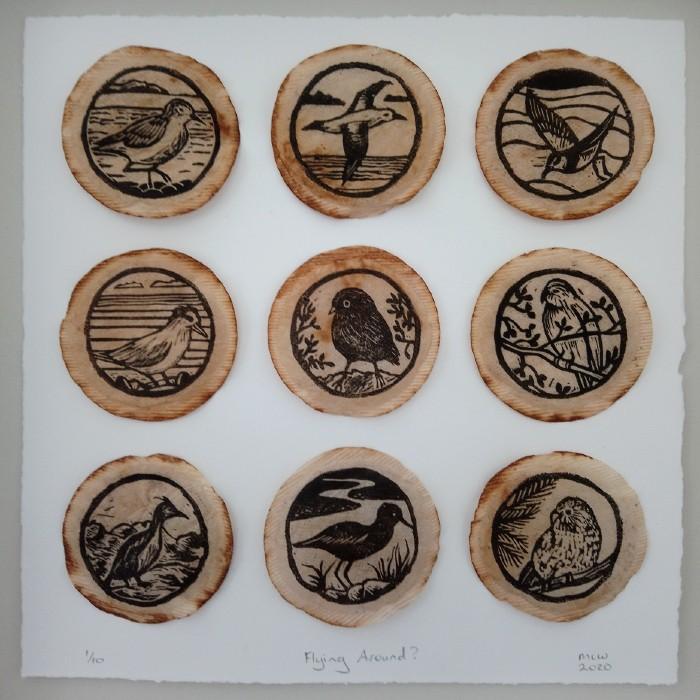 New Zealand Bird Art By Margaret White Linocut on Tea Bags