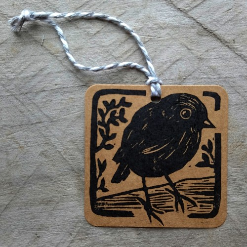 Handmade New Zealand Gift Tag Black Robin Margaret White Art