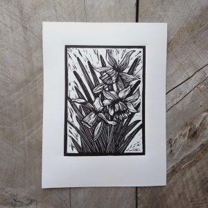 Margaret White Art Spring Daffodil Linocut